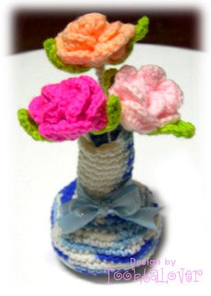 ดอกไม้ปักแจกันถักไหมพรม