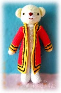 ตุ๊กตาถักไหมพรมชุดรับปริญญาพระจอม