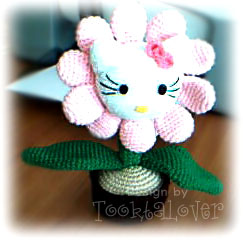 ดอกไม้ใส่กระถางถักไหมพรม