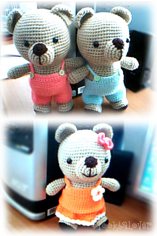 น้องหมีสาวและหมีหนุ่มถักไหมพรม