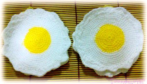 จานรองแก้วไข่ดาวถักไหมพรม