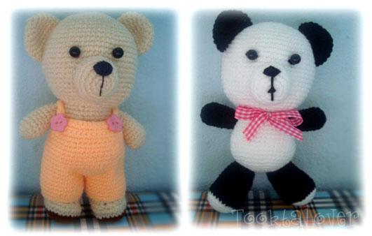 ตุ๊กตาหมีถักไหมพรมยืน