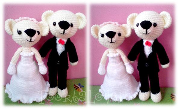 ตุ๊กตาหมีบ่าวสาวแต่งงานถักไหมพรม